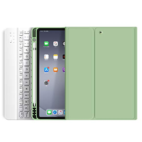"""kenke Keyboard Case for iPad Mini 5 2019 / Mini 4 with Pencil Holder,Soft TPU Back Stand Cover with Magnetically Detachable Wireless Keyboard for iPad Mini 5th Generation/Mini 4th Gen 7.9""""-Green"""