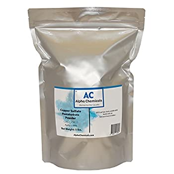 Alpha Chemicals Copper Sulfate Pentahydrate - 25.2% Cu - 5 Pounds - Easy to Dissolve - Powder