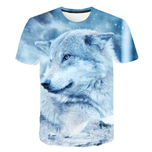 Camiseta de Verano Hombres Streetwear O-Colllar Tops Cortos Divertidos Animal Casual Wolf 3D Imprimir T Shirt 5332 XXXL