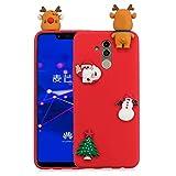 HopMore Series de Navidad Funda Huawei Mate 20 Lite Silicona Carcasa Motivo 3D Divertidas TPU Gel Ultrafina Slim Case Antigolpes Cover Protección Dibujo Gracioso - Alce Rojo