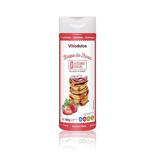Erdbeersirup ohne Zucker, kalorienarmer Sirup, Erdbeertopping 400 gr - Vitadulce