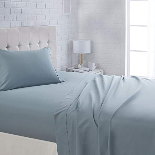 "AmazonBasics Lightweight Super Soft Easy Care Microfiber Sheet Set with 16"" Deep Pockets - Twin XL, Spa Blue"