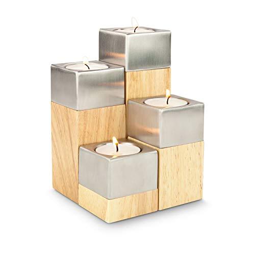 ROMINOX Geschenkartikel 4er Teelicht-Set // Luce – Vier Teelichthalter in modernem Design, flexibel kombinierbar und ganzjährig einsetzbar, unkonventioneller Adventskranz für Advent und Weihnachten