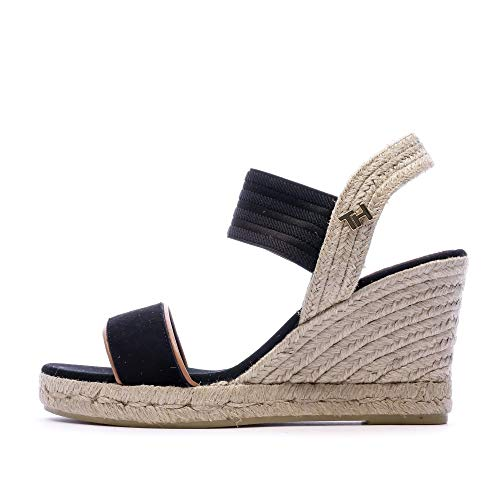 Tommy Hilfiger New Tommy Basic Opened Toe Wedge, Sandalias con Punta Abierta Mujer, Negro (Black Bds), 37 EU