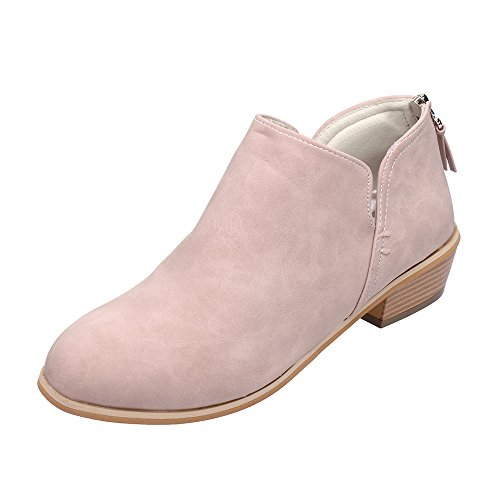 Fossen Mujer Botines Otoño Color sólido Zapatos de Piel Artificial Botas de Tacón para Fiesta Oficina