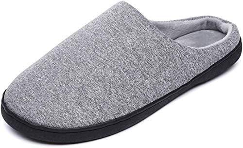 SLM-max Zapatillas unisex de algodón para hombre y mujer, para otoño e invierno, para hombre, de moda, antideslizantes, cálidas de algodón (color: gris, talla: 9/10 de ancho del Reino Unido).