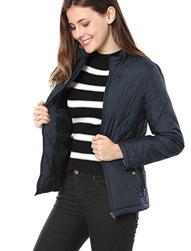 Allegra K Women's Stand Collar Zip Lightweight Quilted Jacket Blue S