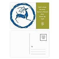 漫画の鹿の動物のブルー 詩のポストカードセットサンクスカード郵送側20個