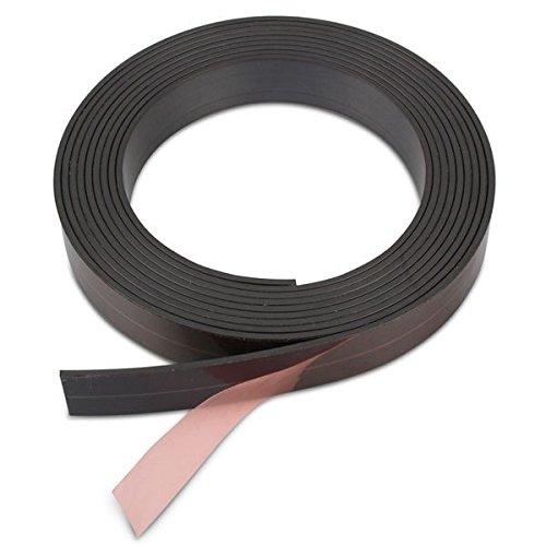 Magnetband einseitig selbstklebend - Breite 25,4 x 1,5 mm, Rückseite mit Klebefilm, mit Schere zuschneidbar, haftet auf allen metallischen Flächen