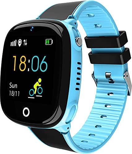 JBC GPS Uhr Abenteurer 2/2021 Wasserdicht/mit sicherem Deutschen Server/SOS Notruf + Telefonfunktion/Anleitung+Uhr+App+Support: Deutsch (Blau)