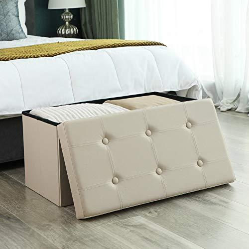SONGMICS Sitzhocker Sitzbank mit Stauraum faltbar 2-Sitzer belastbar bis 300 kg Kunstleder beige 76 x 38 x 38 cm LSF40M - 2