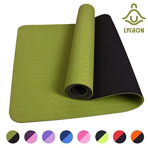 LYCAON Gymnastikmatte Yogamatte Fitnessmatte Pilates Gymnastikmatte 183 x 61 x 0,6cm rutschfeste Matte aus TPE-Material für Pilates/Sit-Ups/Stretching/Meditation/Aerobic | 8 Farben (Grün)