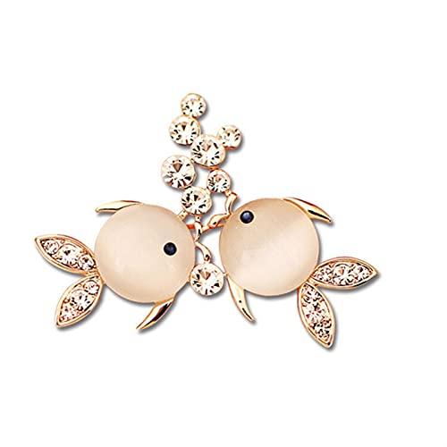 YAOLUU Broche de bisutería Fashion Opal Broche Doble Fish Broche Accesorios de Prendas de Vestir de Color Dorado Alfiler