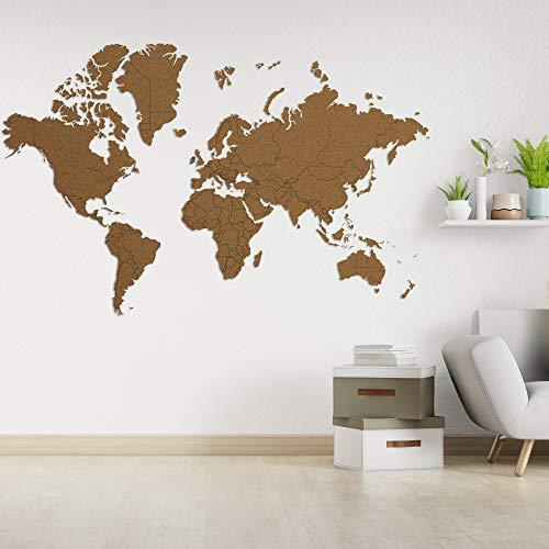 Inwood - Mapa del mundo XXL Premium True Puzzle Pared - Mapa del mundo de madera de alta calidad - Cuadros de pared / adhesivos de pared - 268 x 170 cm - Marrón (XXL-Large) (marrón, XXL)