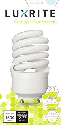 Luxrite LR22325 CF23 23-Watt CFL T2 Spiral Bulb, Equivalent To 100W Incandescent, Daylight 6500K, 1600 Lumens, GU24 Bi-Pin Base
