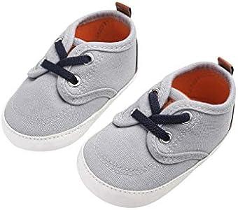 DEBAIJIA Bebé Niño Primeros Pasos Zapatos para 6-18 Meses Niños Zapatos de Lona con Suela de Silicona Antideslizante Transpirable Ligero Cierre de Cinta Mágica Zapatillas Deportivas Outdoor