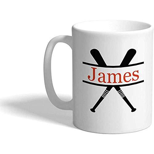 Taza de café personalizada 330 ml Nombre personalizado Bate de béisbol Deportes B Taza de té de cerámica Blanco