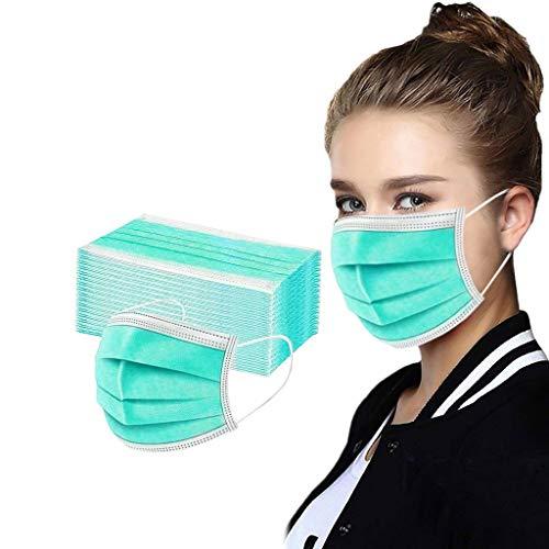 FRAUIT 50 Stück Einmal-Mundschutz Bandana Halstuch Multifunktionstuch Verhindern Sie das Beschlagen von Gläsern (Grün, 50pcs)