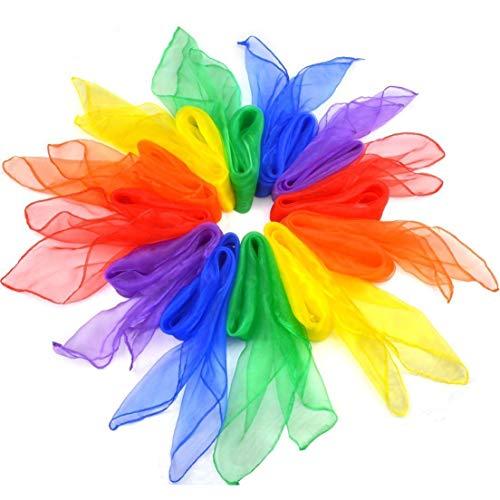 Tanz Tücher,12er Pack Bunt Jongliertücher Square Seidentücher Tanz Jonglier Tücher Schals für Kindergarten Kinder Mädchen Mädchen Zeigen Belly Dance 60 * 60cm 6 Farben