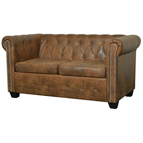 Canapé 2 places Marron Cuir Chesterfield
