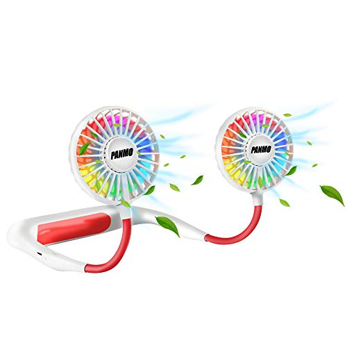 PANMO Portable Neck Fan, Personal Small Fans with 4 Speeds, Colorful LED Lights, Aromatherapy, 2000mAh USB Rechargeable 360° Adjustment Silent Cool Fans for Sports, Travel, Outdoor (White)