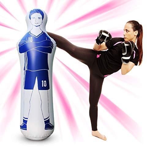 1,6 m Fußballtraining Dummy Freistoß Verteidiger Wand PVC Boxsack für Fußball Praxis Boxtraining (Blau)