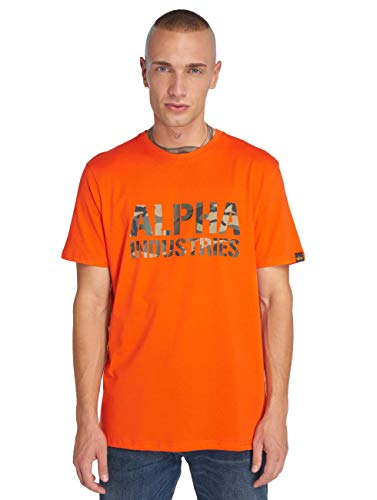 ALPHA INDUSTRIES Herren Camo Print T Unterhemd, orange, M