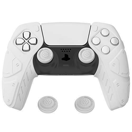 PlayVital Edición Mecha Blanco Funda de Silicona Suave para PS5, Protector de Goma Ergonómica con Tapas para Joysticks para PS5 Mando - Compatible con Estación de Carga