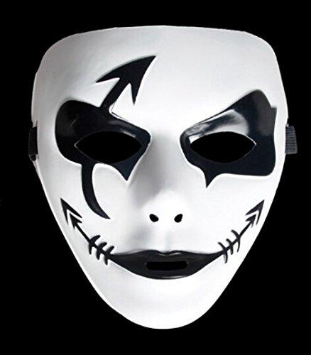 DAYAN High Performance Dance mascarade Hip-hop Mask Halloween Comédie Tragédie Adulte Demes-Noir&Blanc