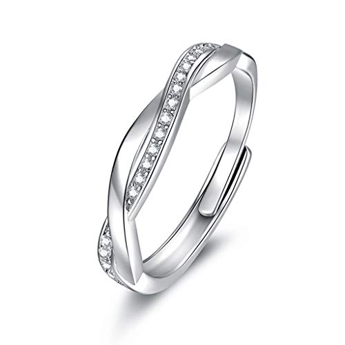 Guzhile Women 925 Sterling Silver Ring Cross Love Knot Cubic Zirconia CZ Eternity Engagement Promise Adjustable Rings Anniversary Wedding Bridal Ring Jewellery