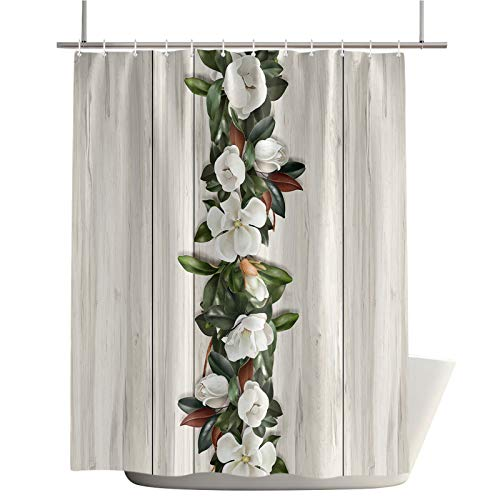Shower Curtain Sets for Bathroom Magnolia Plant Flower Home Decoration Waterproof Fabric Machine Washable Curtains with Hooks,Vintage Wood Grain 36x78in