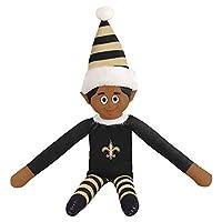 FOCO Ebony NFL New Orleans Saints Bench Buddy Shelf Elf - Limited Edition NFL Team Christmas Elf - Plush Toy Travel Companion, Home or Tailgate