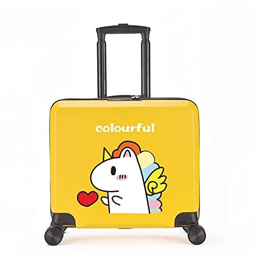 FGHHJ Equipaje para niños de 18 Pulgadas, Muchacha, niña, pequeña Maleta, Equipaje de Viaje con 4 Ruedas, cartón, Carcasa Dura, Peso Ligero,Yellow Unicorn