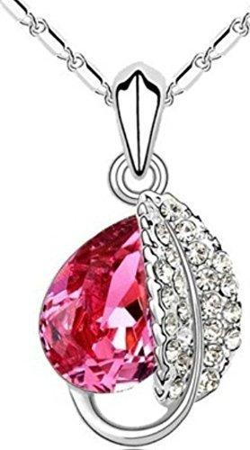 Weihnachtsgeschenk Frauen Weiß Vergoldet Rosa Akazie Leaf Water Drop Swarovski Elements Kristall Anhänger Halskette