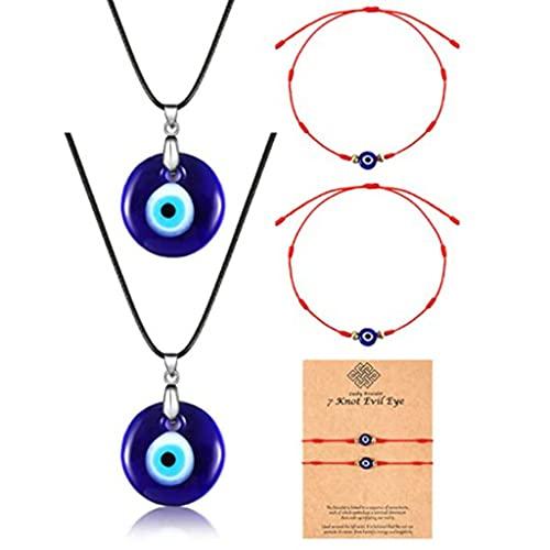 VEILTRON Collar de Ojo Azul de la Suerte, Collar de Pulsera con Colgante de Ojo Malvado, Ojo Turco Malvado para protección y bendición para Hombres y Mujeres