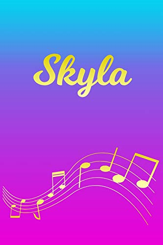 Skyla: Sheet Music Note Manuscript Notebook Paper – Pink Blue Gold Personalized Letter S Initial Custom First Name Cover – Musician Composer … Notepad Notation Guide – Compose Write Songs