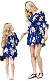 Family Matching Outfits Mommy and Me Flower Print Off Shoulder Long Sleeve Short Jumpsuit Romper Dress (Dark Blue, Medium)