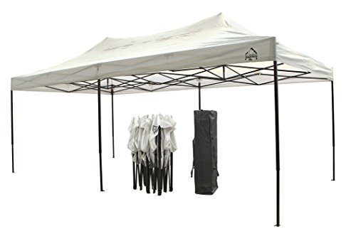 All Seasons Gazebos, Choice of colours, 3x6m (10ft x 20ft) Heavy Duty, Fully Waterproof, PVC Coated, Premium Pop Up Gazebo + Carry Bag With Wheels & 4 x Superior Leg Weight bags. (White)