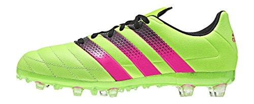 adidas Ace 16.1 FG/AG J Leather, Scarpe da Calcio Unisex-Adulto, Verde/Rosa/Nero (Versol Rosimp Negbas), 36 EU