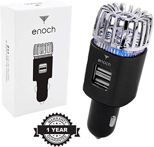 Great Price! Enoch Car Air Purifier with USB Car Charger 2-Port. Car Air Freshener Eliminate Odor, D...