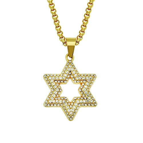 Solomon Seal Six Pointed Star Gold Necklace Men Star Of David Pendant Clavicle Chain Fashion Ice Out Cuban Chain Women Jewelry 75Cm