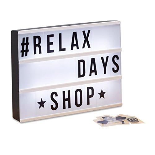 Relaxdays Boîte lumineuse LED Lightbox personnalisable 85 signes lettre 3 lignes HxlxP: 22x30x4,3 cm, blanc/noir