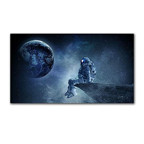 FXBSZ Ciencia ficción espacio planeta lienzo pintura arte de la pared lienzo impresión del cartel pintura del paisaje pintura de la pared sin marco 60x100cm Sin marco