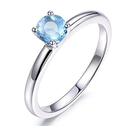 Beydodo Partner Ring Silber 925 4-Steg-Krappenfassung mit Rund Topas, Verlobungsring Ehering Silber für Frauen Gr.53 (16.9)
