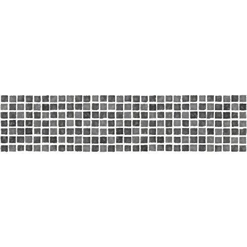 BHF FDB50036T - Bordo autoadesivo per cucina e bagno, Effetto mosaico, Colore nero/bianco