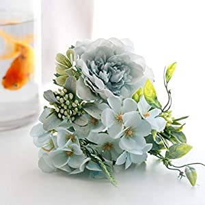 YSQSPWS Artificial Flowers Artificial Peony Bouquet Silk Camellia Flowers for Wedding Home Party Decoration Fake Flower Lifelike