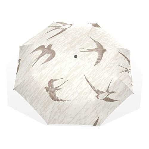 LASINSU Mini Ombrello Portatile Pieghevoli Ombrello Tascabile,Stampa artistica degli uccelli volanti astratti,Antivento Leggero Ombrello per Donna