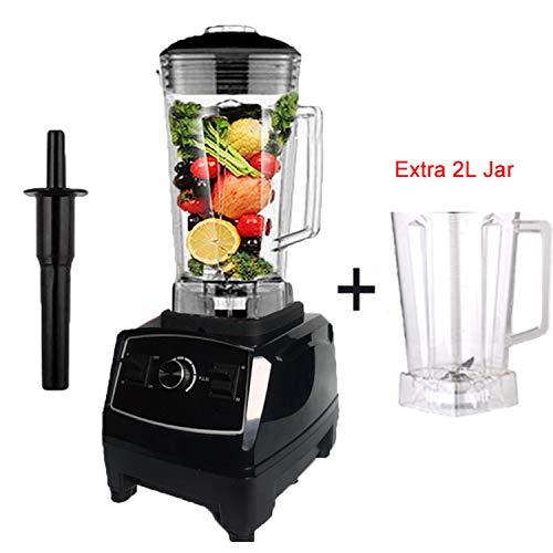 2200W Heavy Duty Commercial Blender Professional Blender Mixer Food Processor Japan Blade Juicer Ice Smoothie Machine,Black extra jar,AU Plug