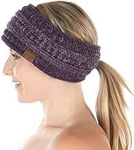 Ponytail Headwrap Ear Warmer Winter Fall Women's Running Headband - Confetti Purple