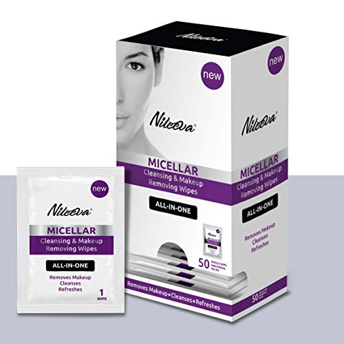 Nileeva Face Makeup Remover I Makeup Cleansing Wipes For Home, Travel or Hotels, Makeup Retail I SINGLE WIPES I Easy Dispensing Box For Hotels (50 Wipes)